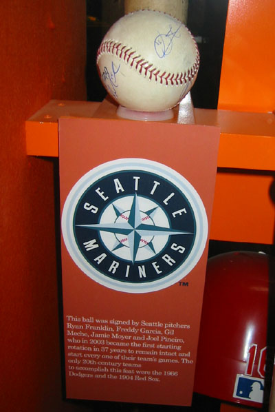 Cooperstown 2003, Mariners rotation signed ball, Garcia, Moyer, Meche, Franklin, Pineiro
